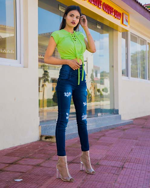 Trendy Neon Top and Jeans