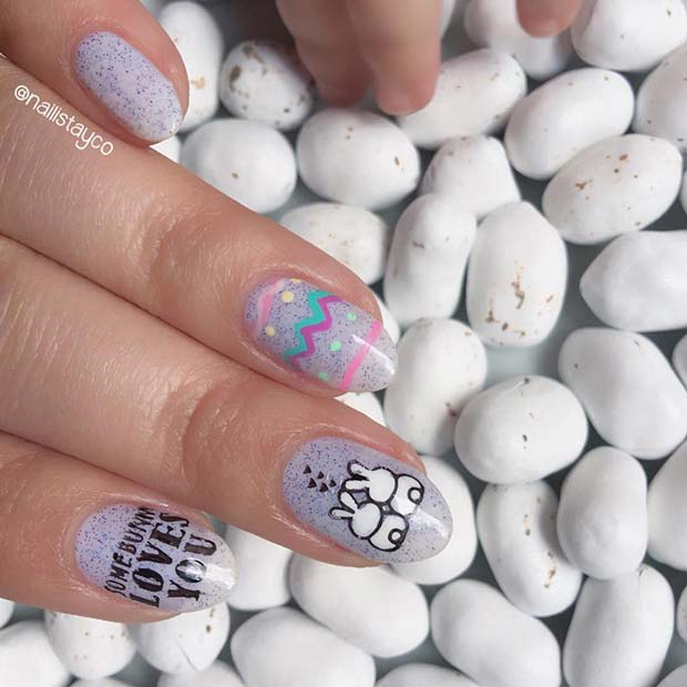 Two Bunnies Easter Nail Design