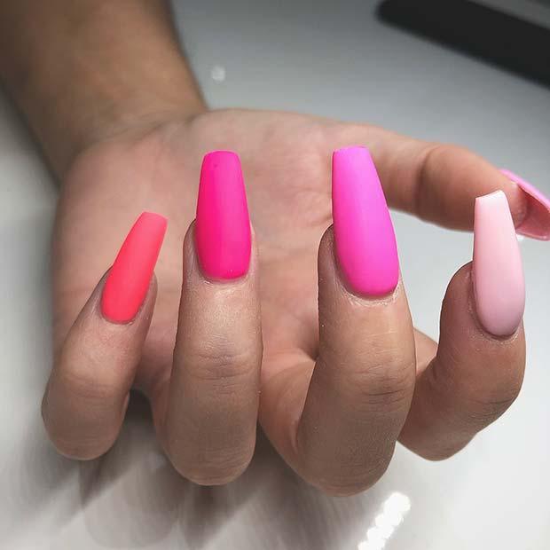 Matte, Vibrant Pink Nails