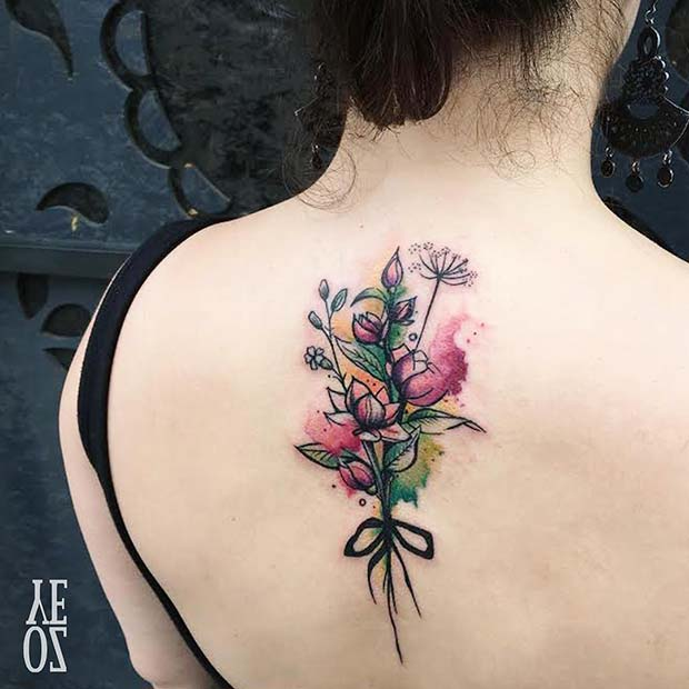 Floral Bouquet Back Tattoo: 47 Breathtaking Watercolor Flower Tattoos