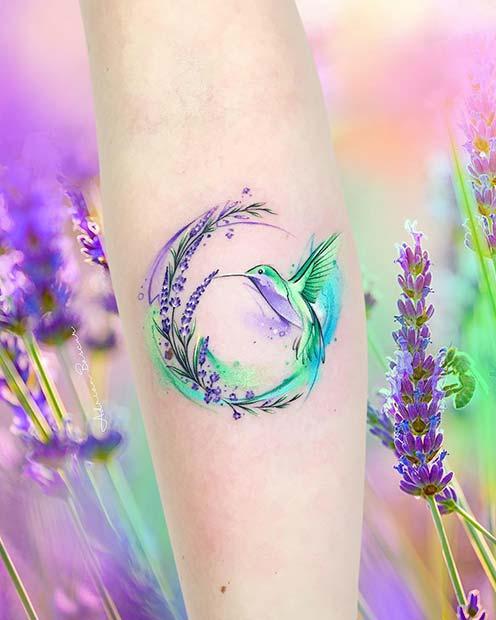 Watercolor Flower and Hummingbird Tattoo