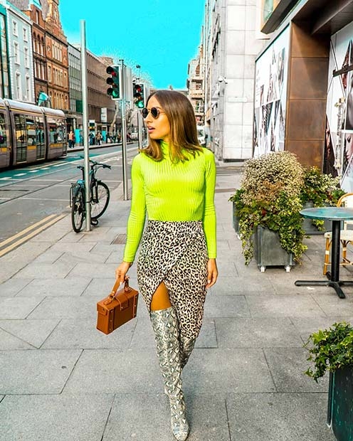 Leopard and Neon Outfit Idea