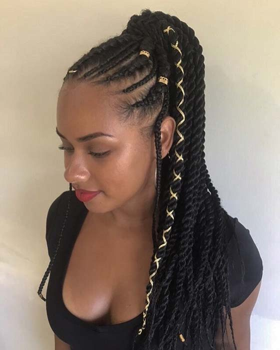 Braids into a Twist Ponytail