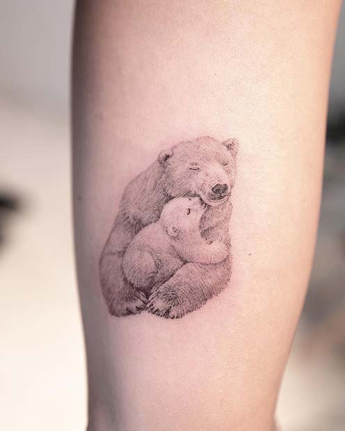 Mama and Baby Bear Tattoo
