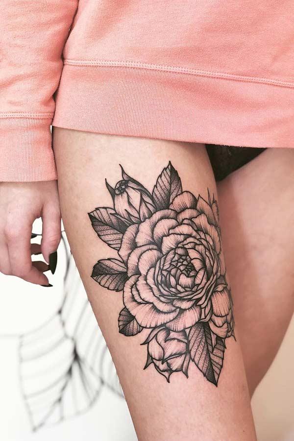 Big Peony Thigh Tattoo