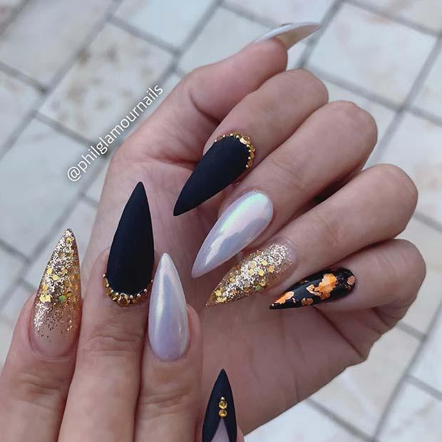 Black, Gold and Chrome Nail Design