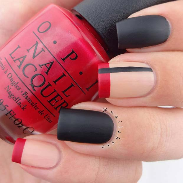 Black Matte Nails with Trendy Accent Designs