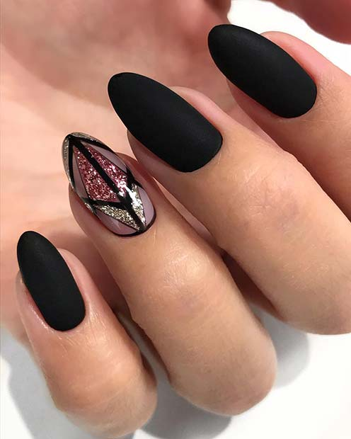 Black Nails with Gorgeous Glitter Accent Nail
