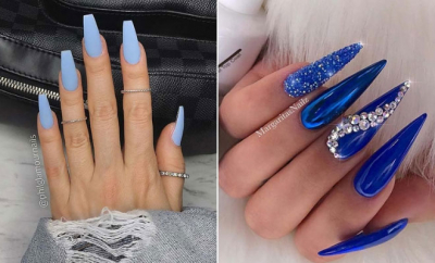 Light Blue Acrylic Nails Design Silver Glitter