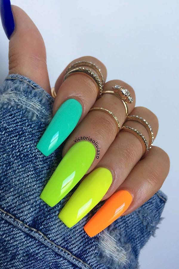 Long Coffin Colorful Nails