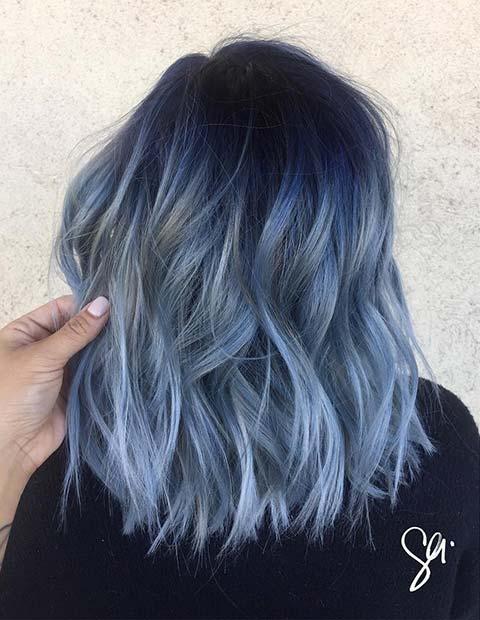 Bold Blue Lob Hairstyle Idea