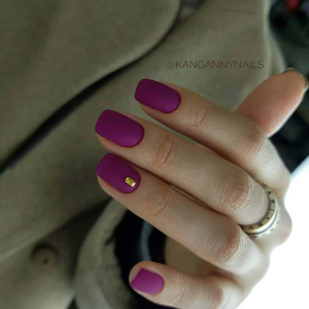 Bold Purple Matte Nails