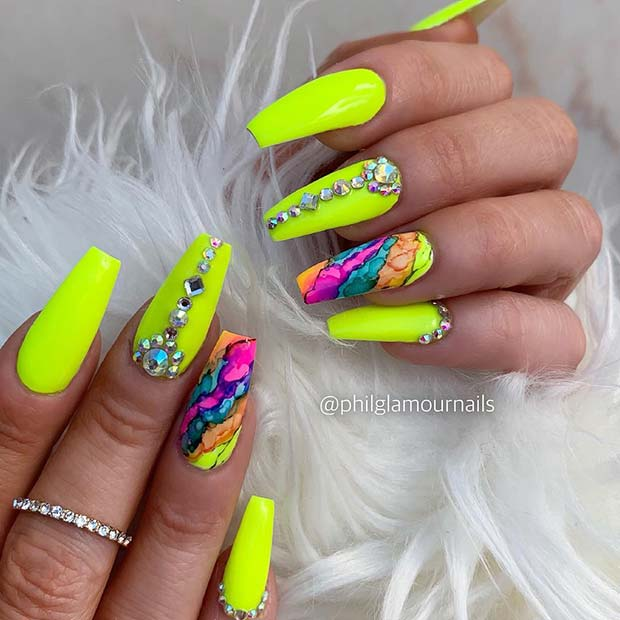 Bold Yellow Coffin Nails