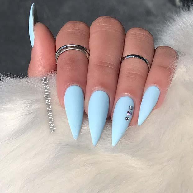 Bright Matte Blue Nail Idea