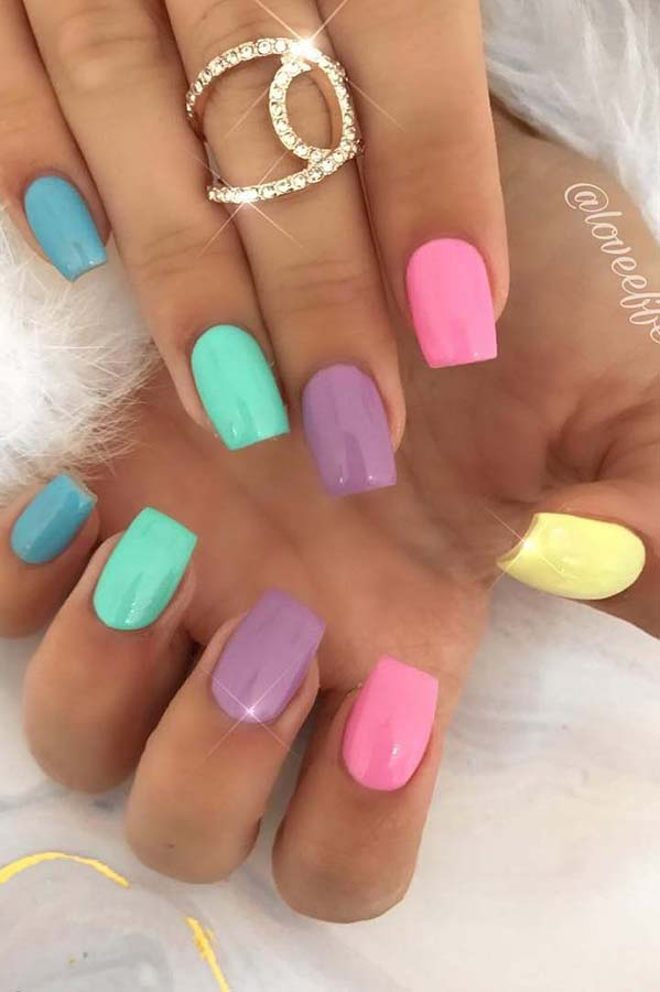 Bright and Colorful Pastel Nails