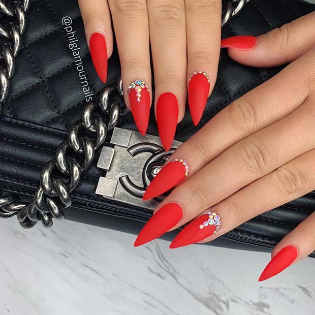 Bright Red Matte Nails