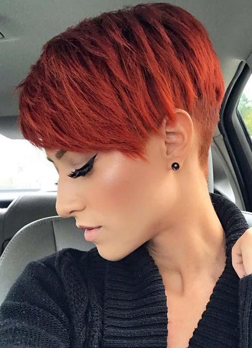 Bright Red Pixie Cut Hair