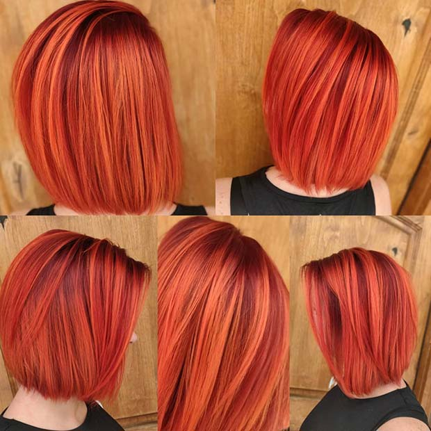 Bright and Bold Red Bob Hairstyle