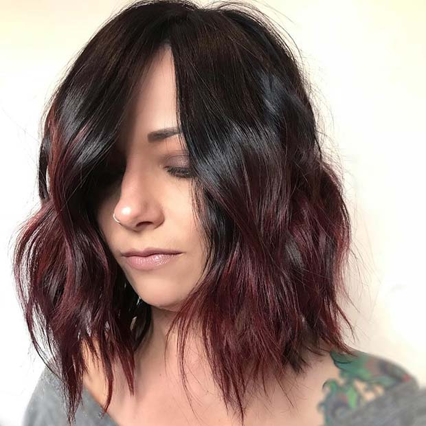 Burgundy Ombre Bob Hairstyle