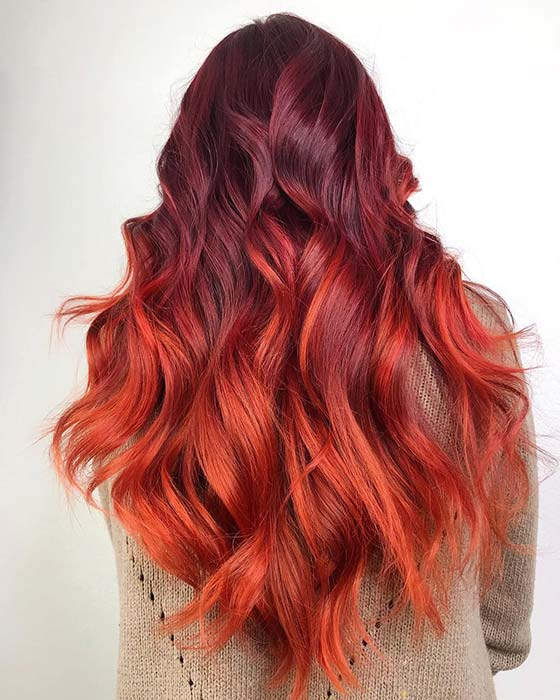 Burgundy to Fiery Orange Ombre Hair