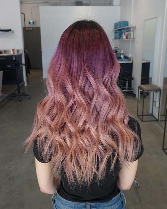 Burgundy to Pastel Orange Hair