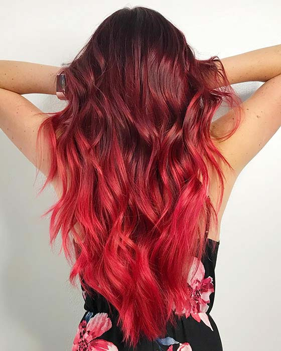 Burgundy to Red Ombre Hair