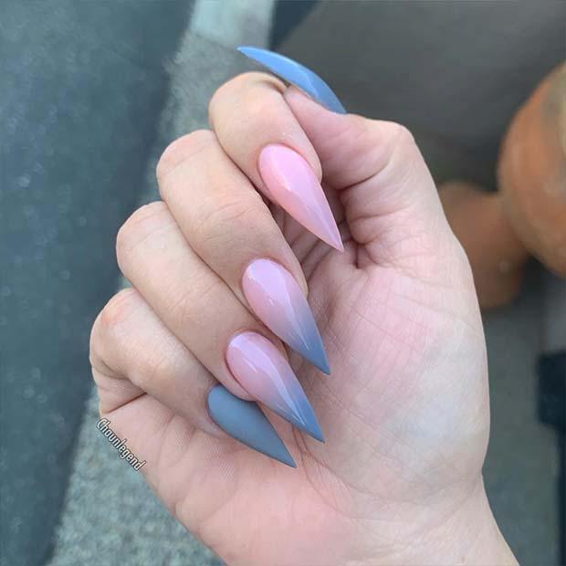 Grey Ombre Stiletto Nails
