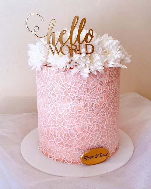 Chic Hello World Baby Shower Cake