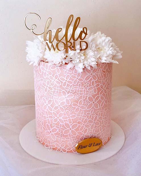 Chic Hello World Baby Shower Cake