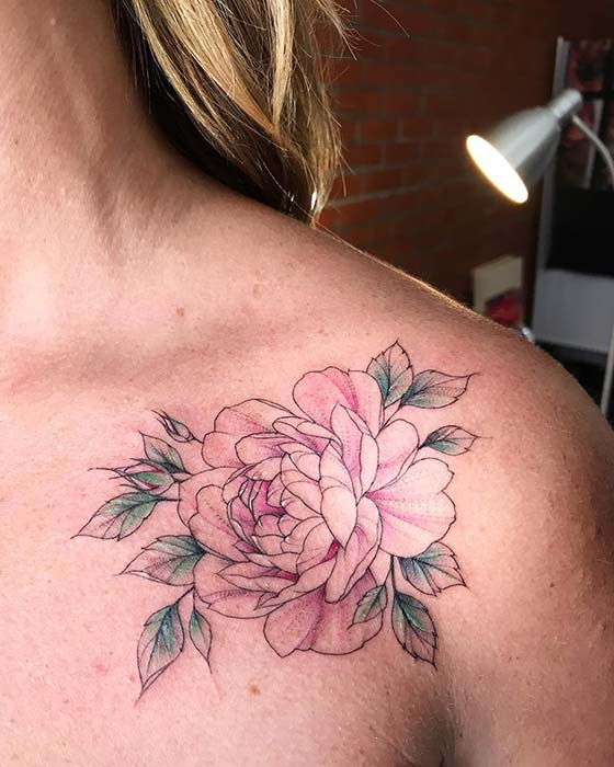 Chic Peony Shoulder Tattoo
