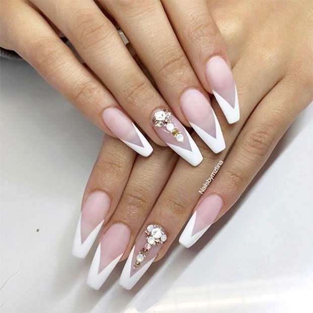 Chic White Tips Coffin Nail Design