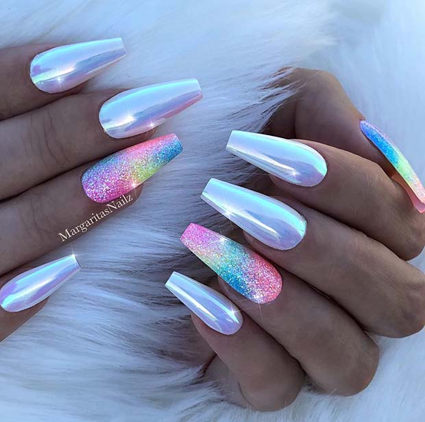 Chrome Nails with Sparkly Rainbow Accent Design