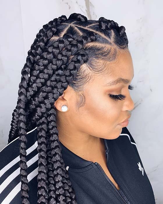 Jumbo Individual Braids with Trendy Triangle Parts