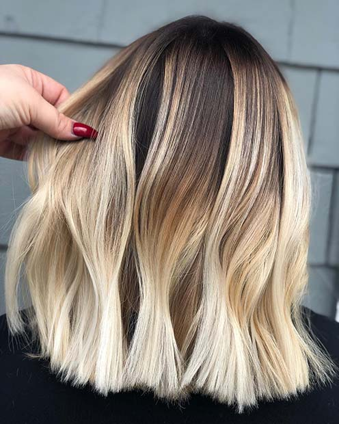 Classic Long Bob with Bright Blonde Color