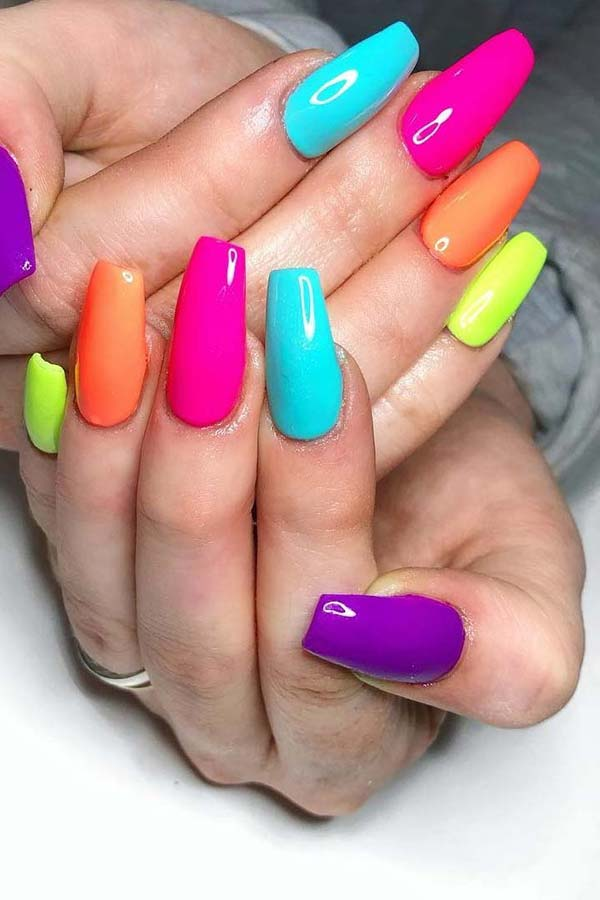Colorful Glossy Nails