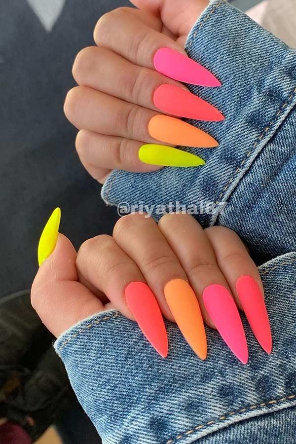 Colorful Matte Stiletto Nails