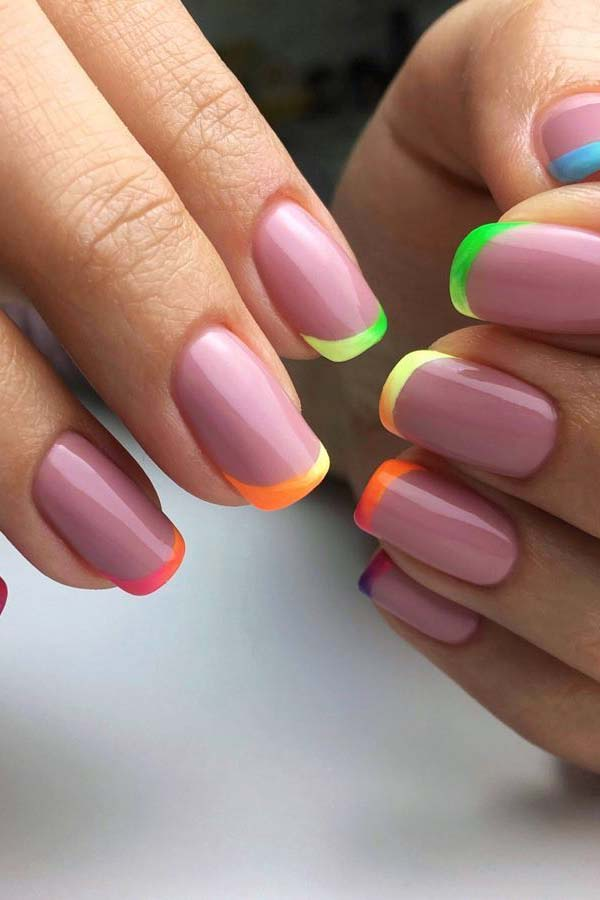 Summer Nails with Colorful Tips