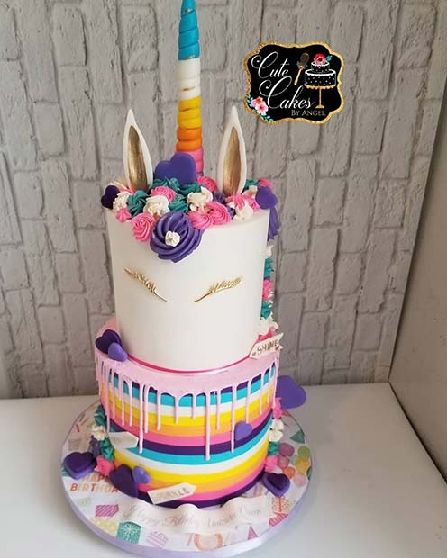 Colorful Unicorn Cake Idea