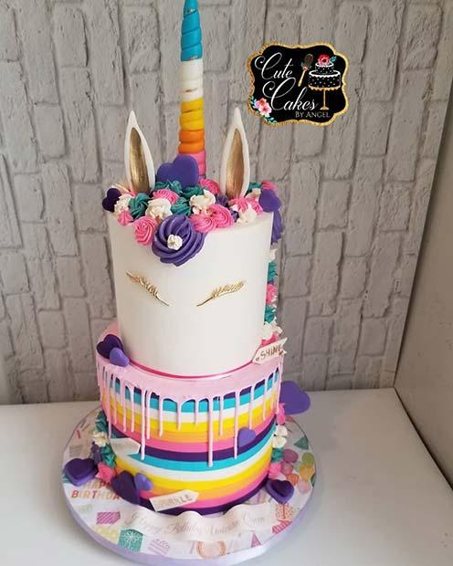 Colorful Unicorn Cake Idea
