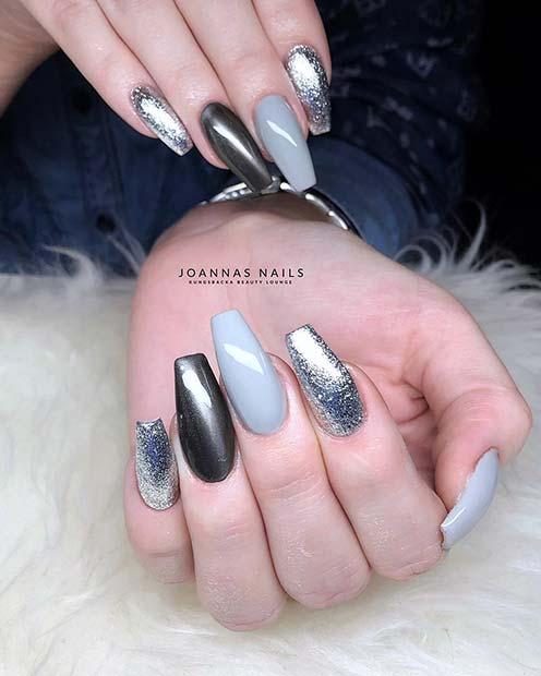 Cool Grey Nail Design