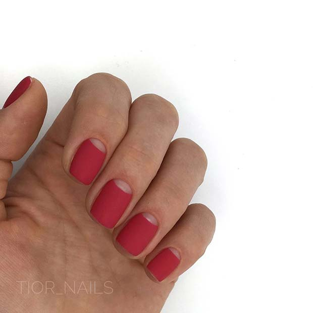 Matte Red Nails with Cut Out Cuticle Design