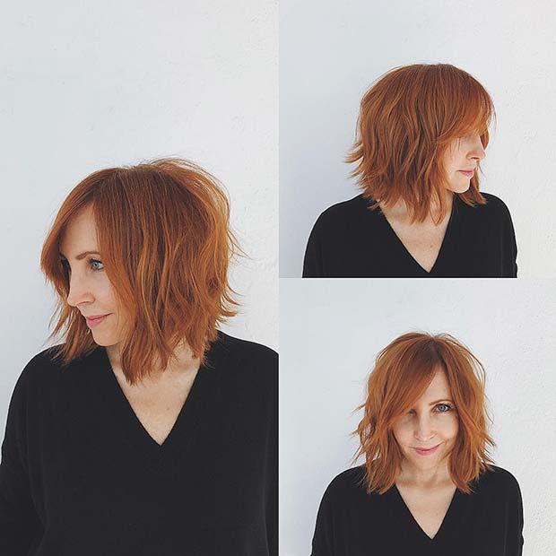 Layered Copper Bob Haircut