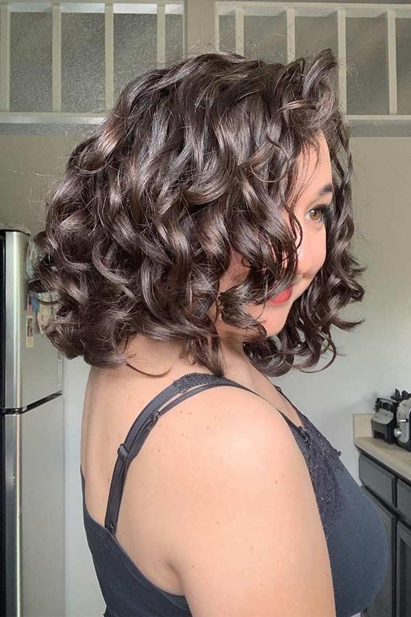 Curly Brunette Bob Haircut