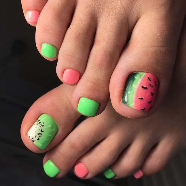 Cute Kiwi and Watermelon Toe Nails