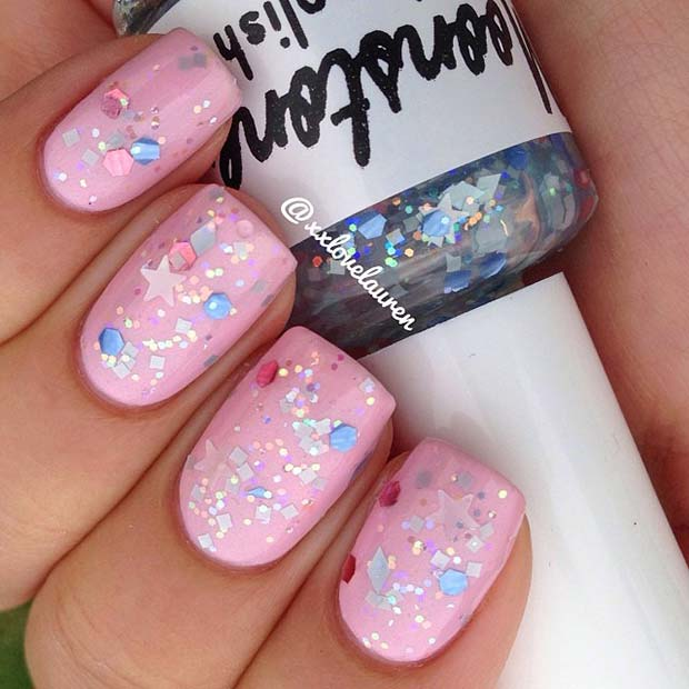 Cute Pink Nails with Sparkles and Stars