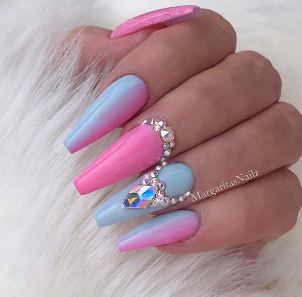 Cute Pink and Blue Nail Design