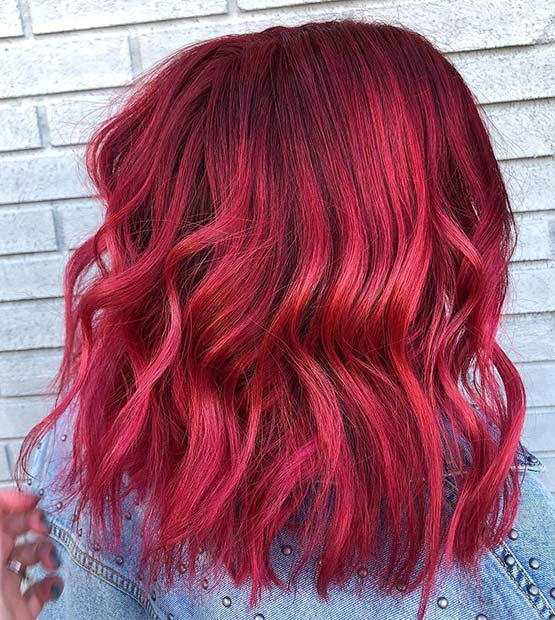 Cute Red Long Bob