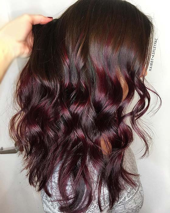 Dark Brown to Burgundy Ombre Hair