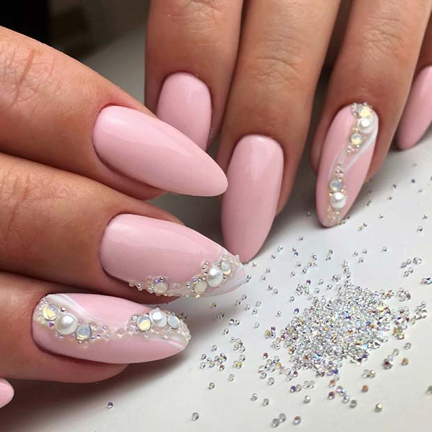 Elegant Opal and Pearl Nail Design