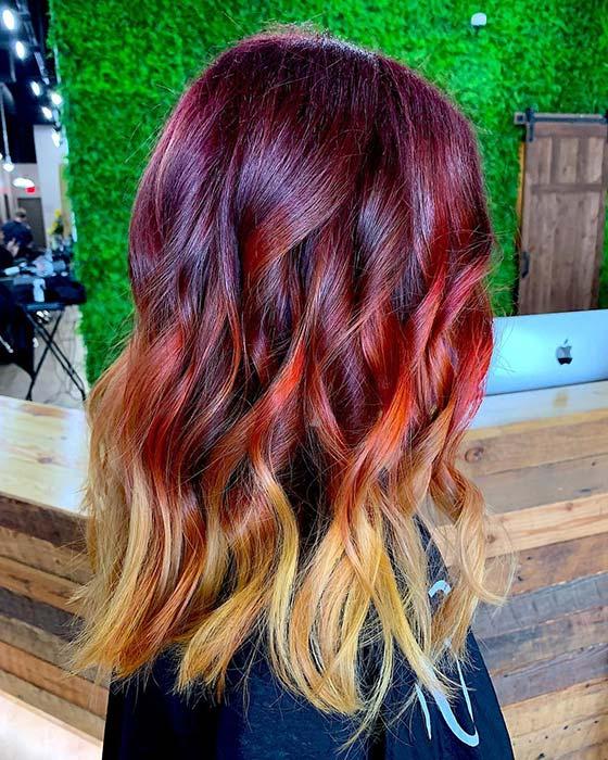 Fiery Burgundy Ombre Hair Color Idea